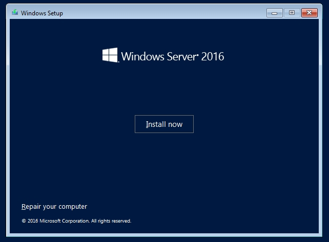 Windows Server 2016 installation screen