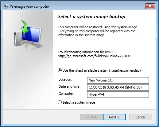 System image backup recovery