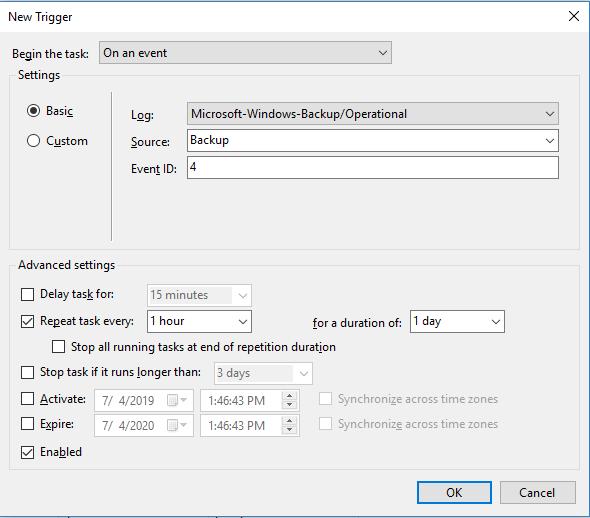 Task Scheduler trigger configuration