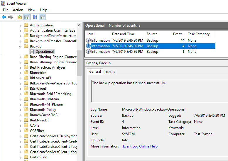Backup event viewer