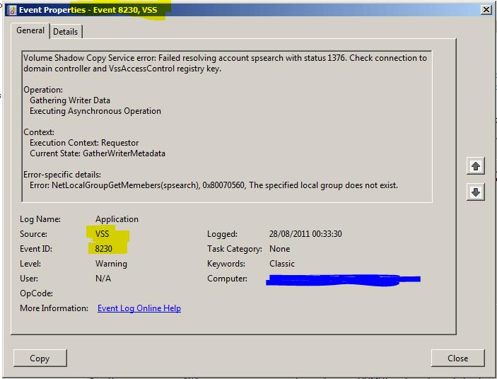 Event Viewer Event 8230 VSS Error