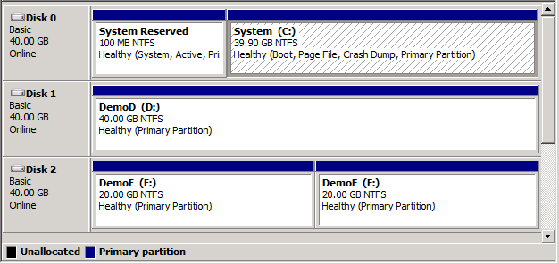 Disk2VHD disk manager screenshot