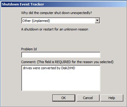 Disk2VHD shutdown event tracker