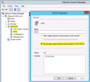 iSCSI Network in Failover Cluster Manager