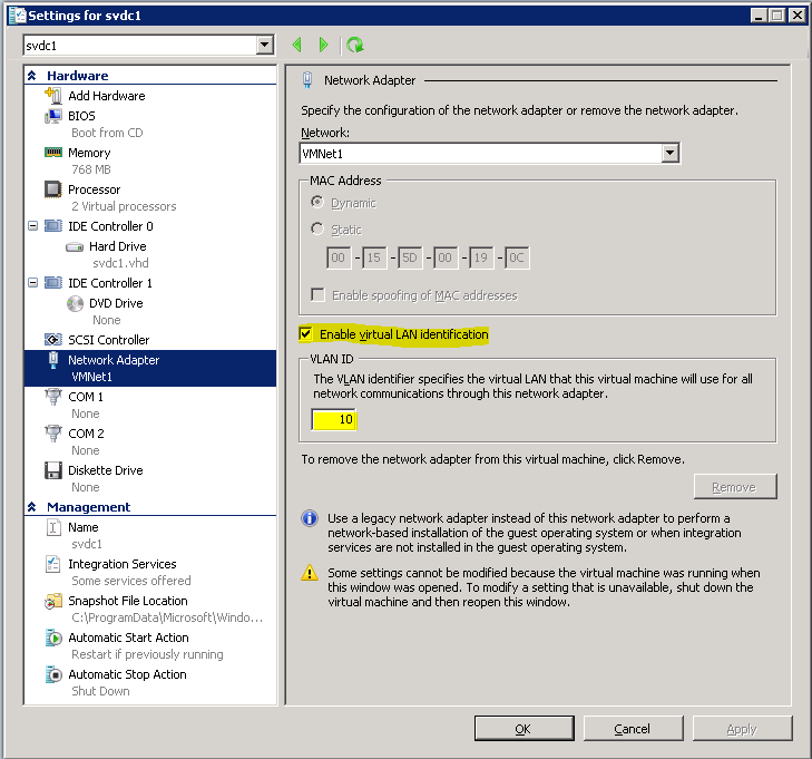 how to connect virtual machine to physical network