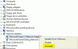 V2P Uninstall Virtual Adapter