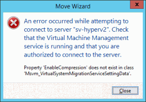 Error Trying SNMLM from 2012 R2 to 2012