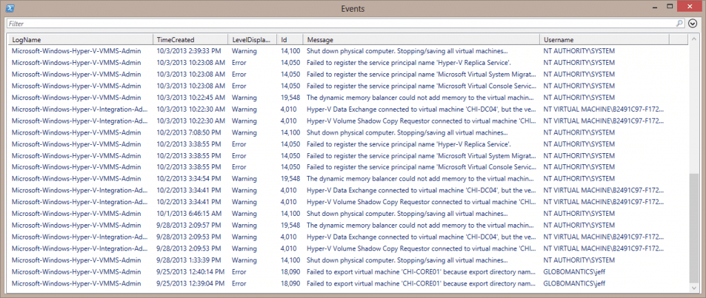 out-gridview recent errors warnings event logs
