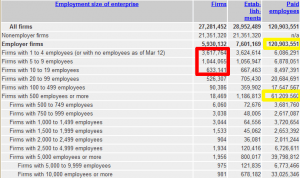 Company Sizes; source: http://www.census.gov/econ/smallbus.html