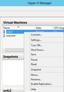 Hyper-V Manager's Context Menu
