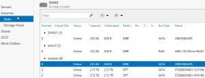 Server Manager Disks Page