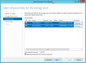 Storage Pool Wizard Disk Selection