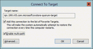 iSCSI Connect to Target Dialog