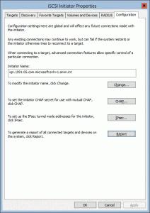 iSCSI Configuration Tab