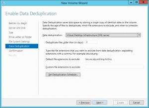 New Volume Deduplication Settings