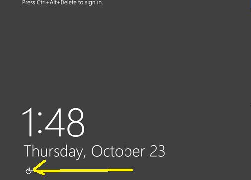 Windows login ease of access button