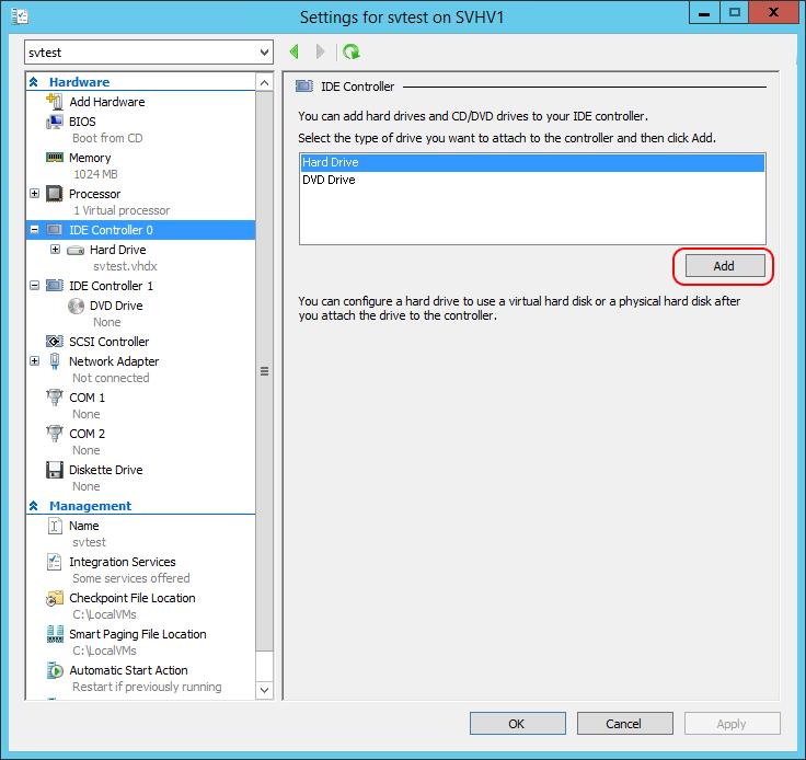 Add VHD on IDE
