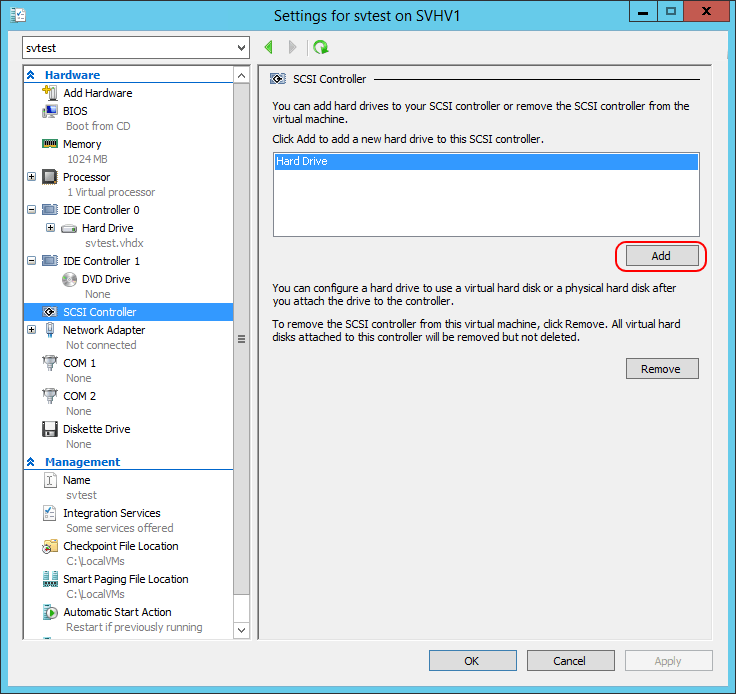 Add VHD to SCSI
