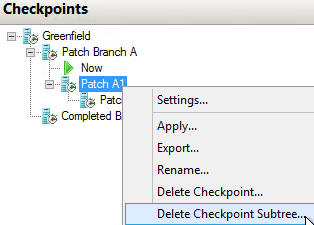 Checkpoint: Delete Downstream Tree