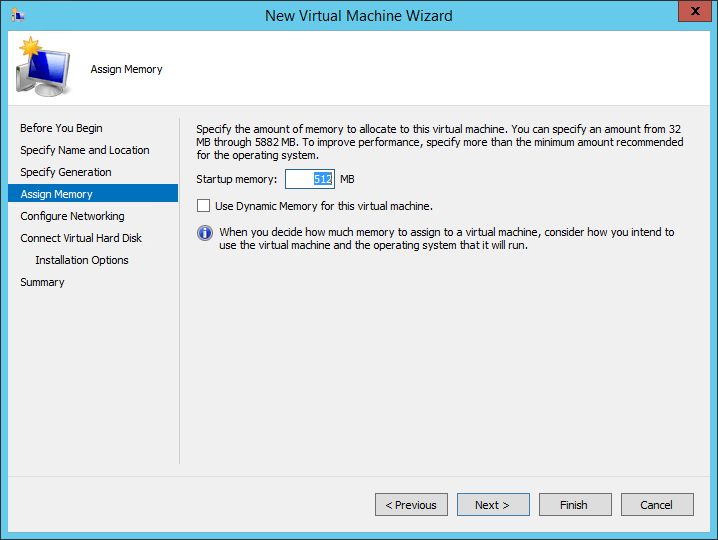 New VM: Memory Settings
