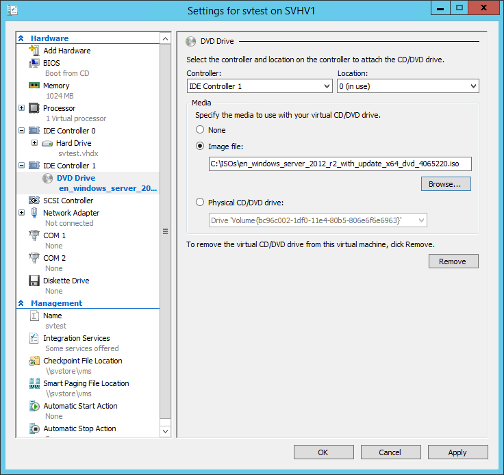 ISO Selection in VM Settings