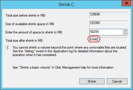 Shrink Dialog