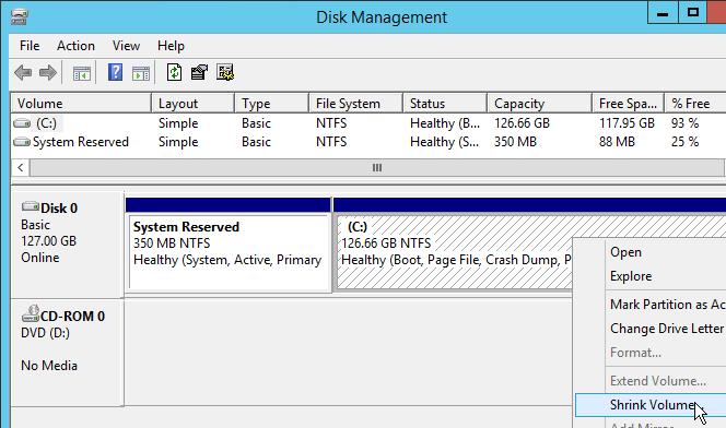 Shrink Volume in Disk Management
