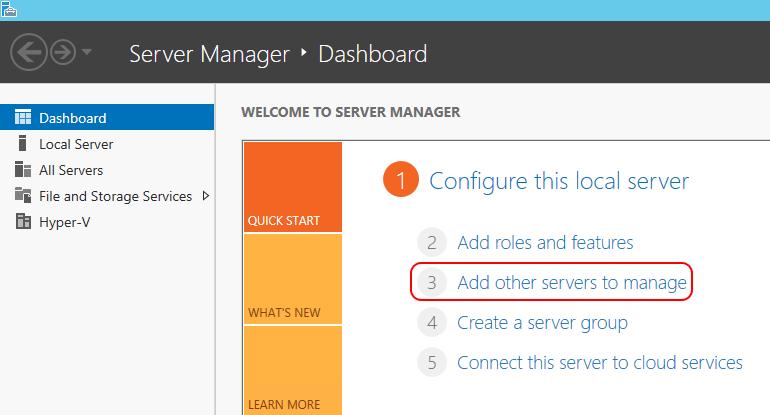 Adding other hosts in Server Manager