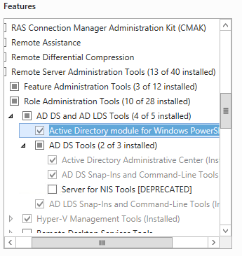 Active Directory PowerShell Module in RSAT