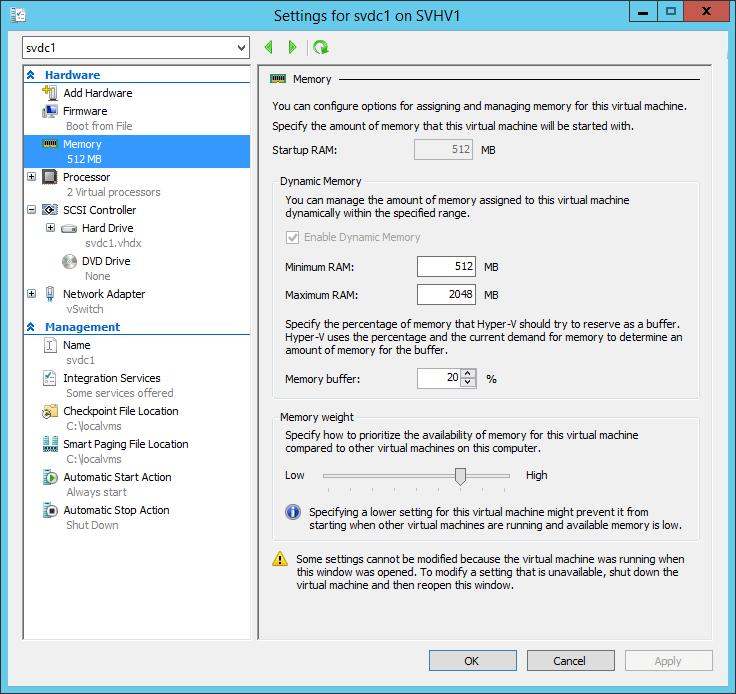 Dynamic Memory Configuration Screen