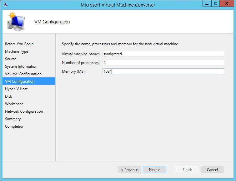 MVMC Target VM Specifications