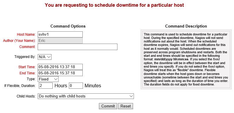 Nagios Downtime Scheduler