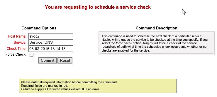 Reschedule Nagios Service Check