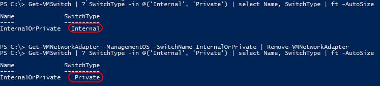 Convert Internal Virtual Switch to Private
