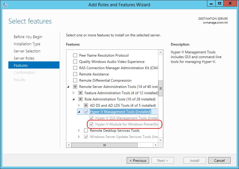 Server Hyper-V PowerShell Module