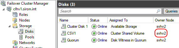 CSV Owner in Failover Cluster Manager