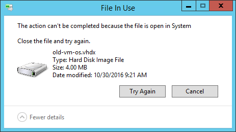 System has VHD Open