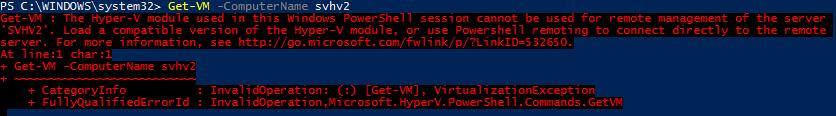 Error Using Hyper-V PS Module on Downlevel Target