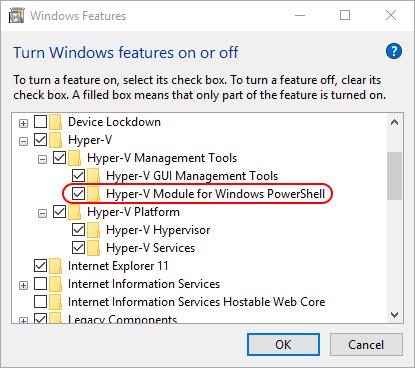 Windows 10 PS Module Selection