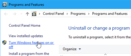 Windows 10 Programs and Features