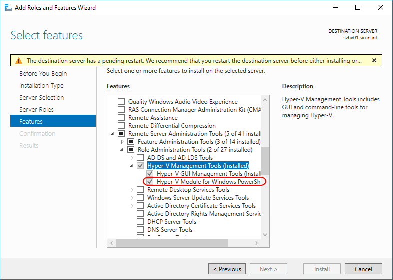 Windows Server PS Module Selection