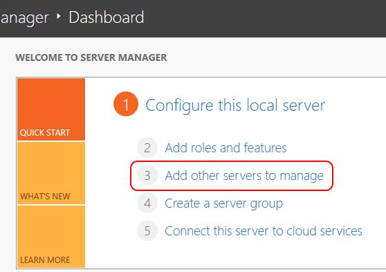Server Manager Add Servers Link
