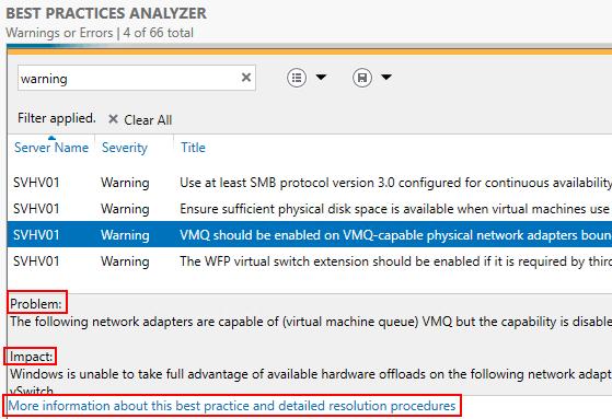 Server Manager BPA Result Details