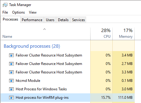 View of a Running BPA in Task Manager