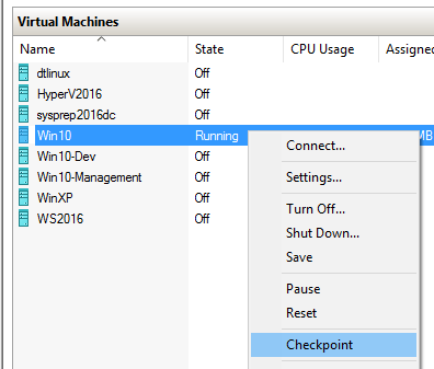 Checkpointing in Client Hyper-V