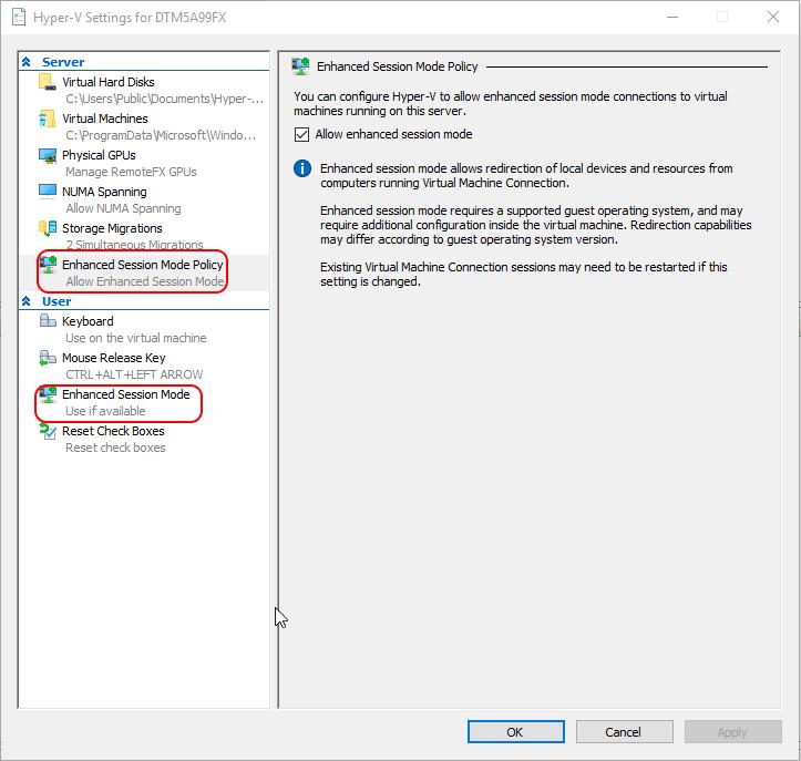 Enhanced Session Mode Configuration
