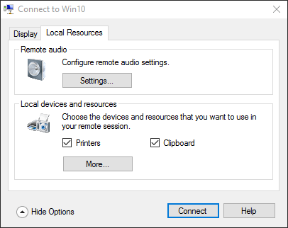 Client Hyper-V Local Resources