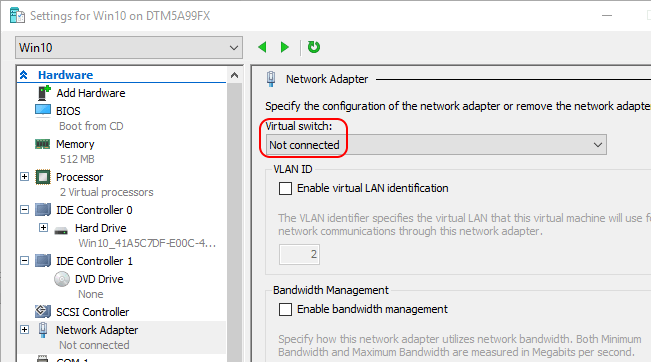 Disconnected VM