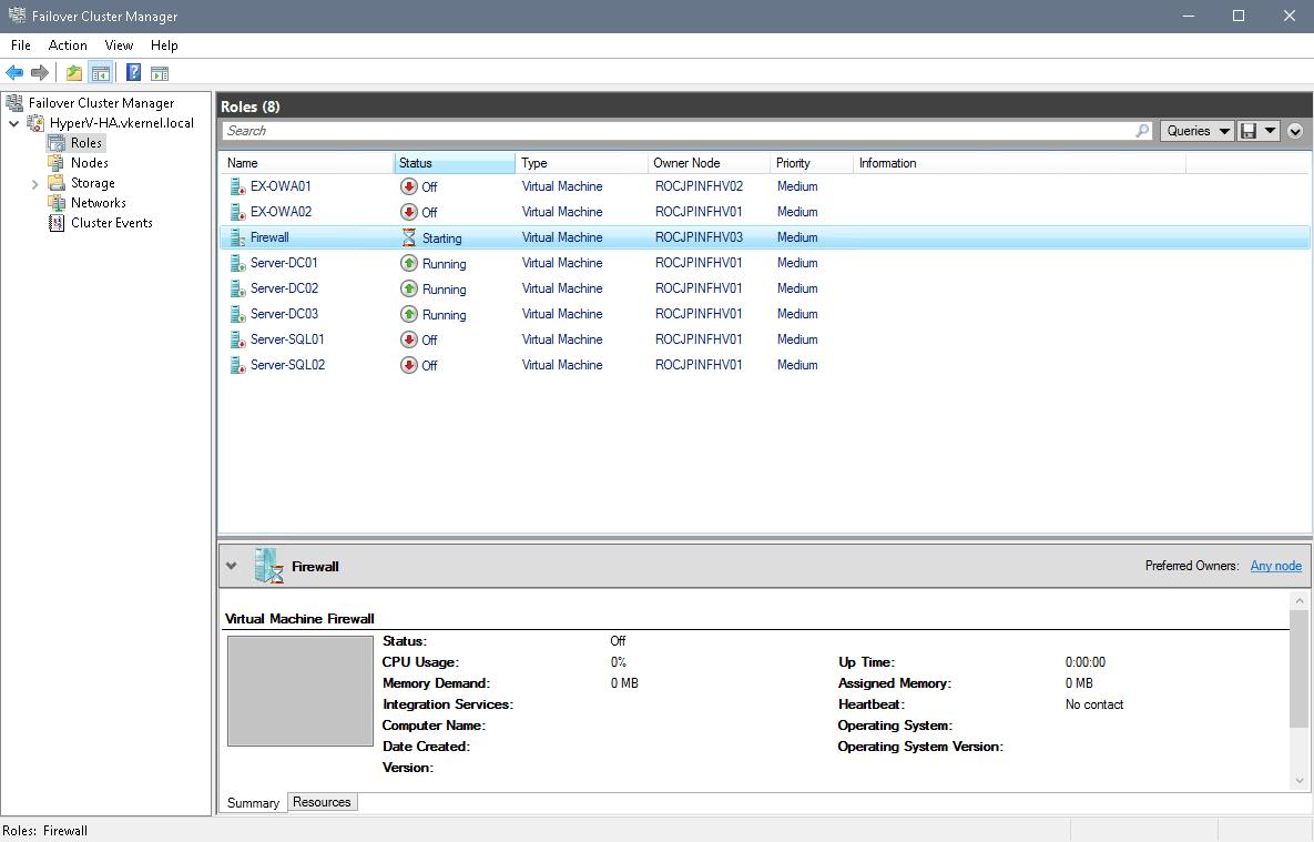 Configure Start Order Priority for Hyper-V Clustered VMs