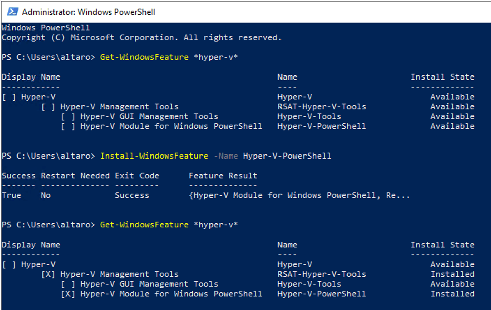 Installation of the Hyper-V PowerShell module on Windows Server 2019